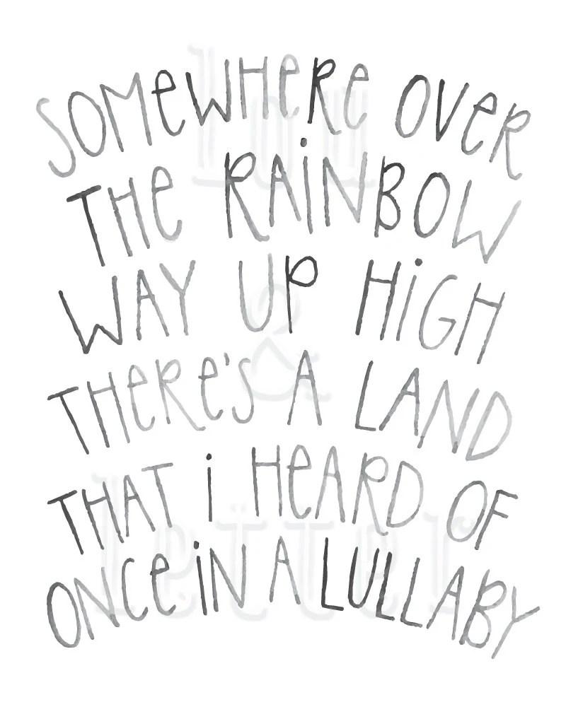 Somewhere Over the Rainbow lyrics handlettered by LouandLetter