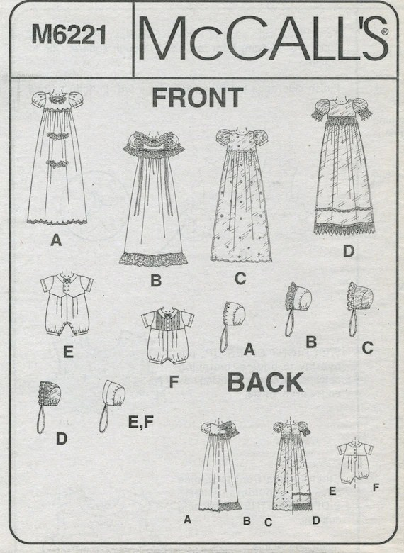 Christening Gown, Romper, Bonnets Sewing Pattern Infant