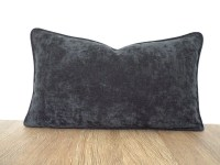 Dark gray lumbar pillow cover 20x12 office decor graphite