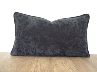 Dark gray lumbar pillow cover 20x12 office decor graphite