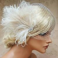 ivory wedding hair feathers wedding fascinator feather ...