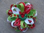 christmas hair bow loopy flower