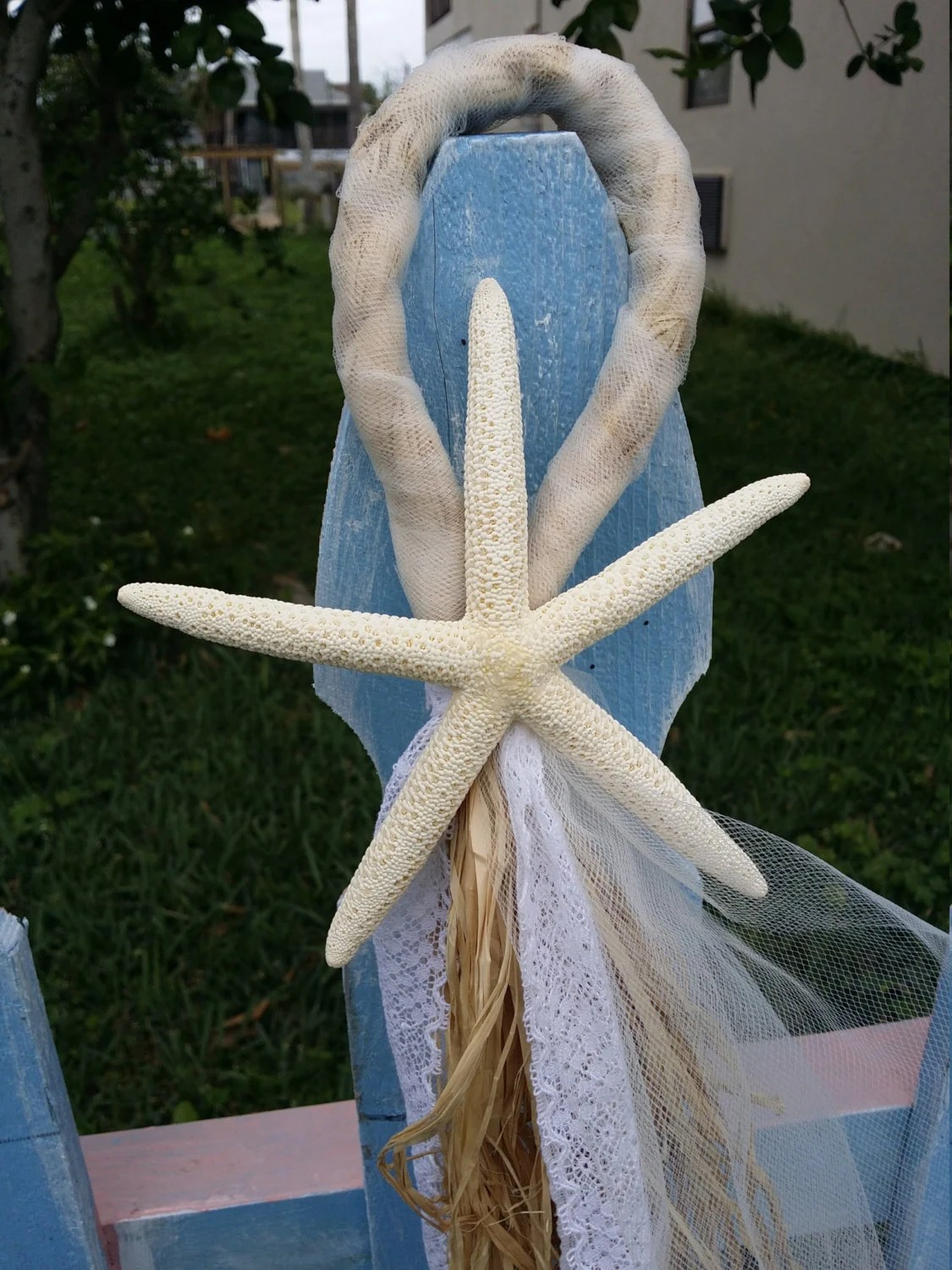 starfish wedding chair decorations cheap covers and sashes raffia strawtulle lace nautical beach aisle