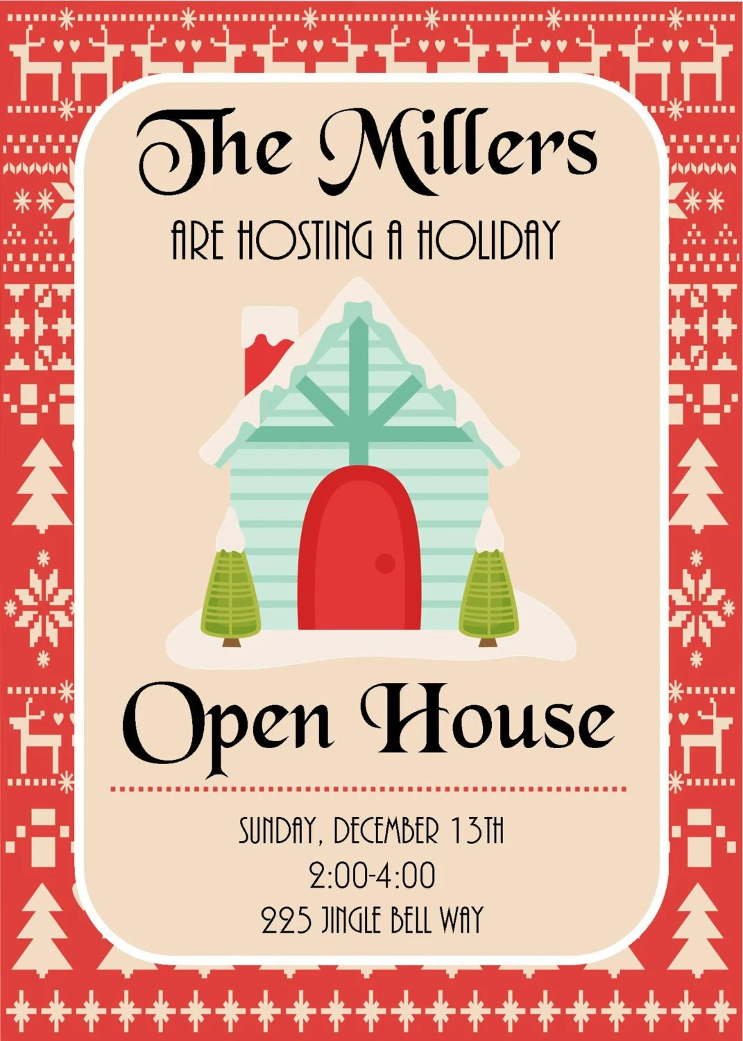 Diy Printable Holiday Open House Christmas Party Invitation