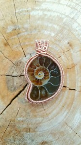 Ammonite Non-Tarnish Copper Wire Wrapped Pendant