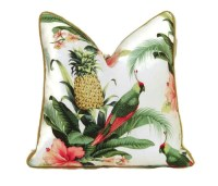 Tropical Print Outdoor Pillow Cover-Pineapple and Parrot Print