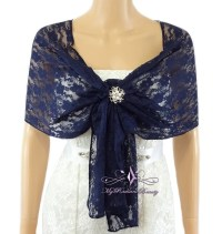 Bridal Lace Wrap Navy Blue Lace Shawl Bridal Lace Shrug