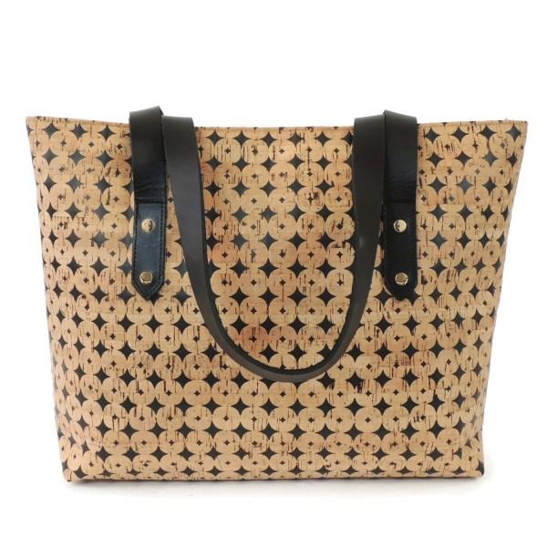 Black Cork Purse And Tan Dot Laser Cut Tote Bag