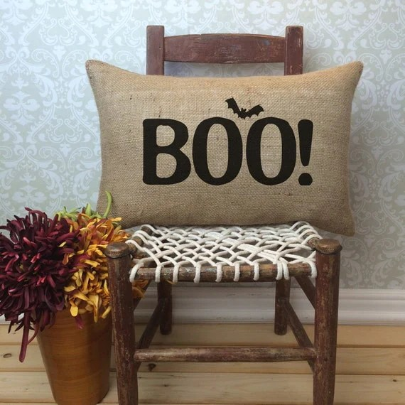 Boo! Pillow, Halloween Pillow, Halloween Decor, Porch Pillow, Autumn Decor, Fall Decor, Burlap Pillow, Lumbar Pillow, Halloween decorations