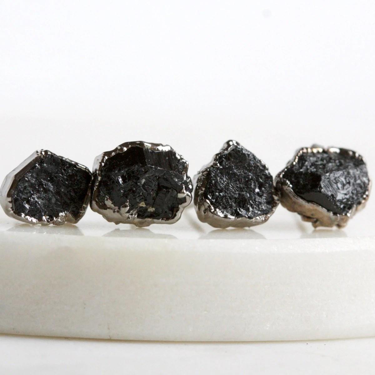 tourmaline earrings / black tourmaline / mineral by
