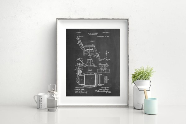 Barbers Chair Patent Art Print Barber Decor