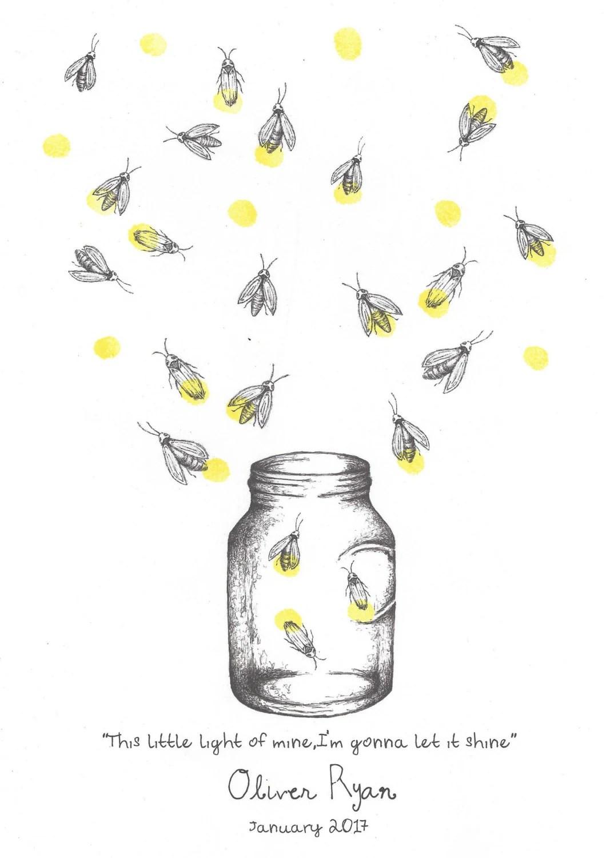 Mason Jar With Fireflies Fingerprint Print Wall Art