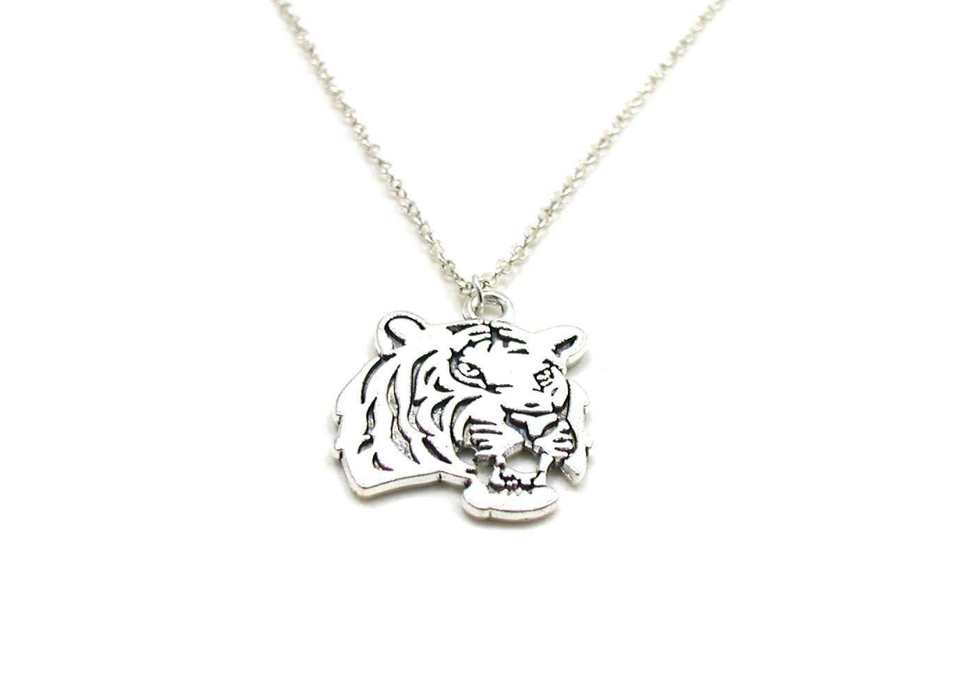 Silver Tiger Necklace Charm Necklace Big Cat Charm Jewelry