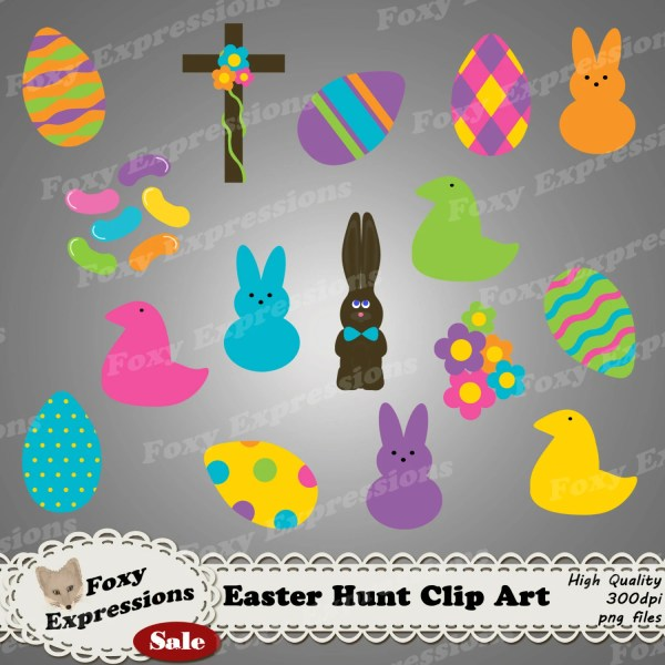 Easter Hunt Clip Art Pack In Bright Colors And Include