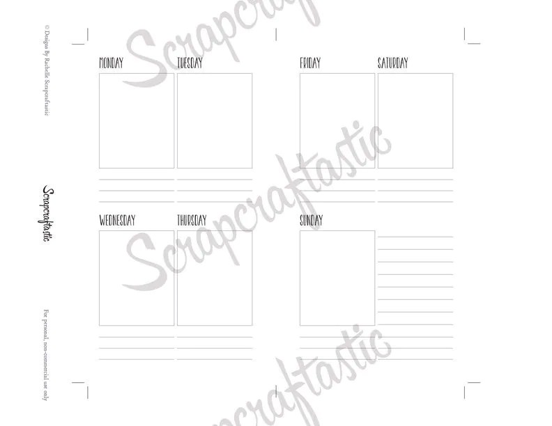 Planner Printable Insert Refill Undated WO2P by