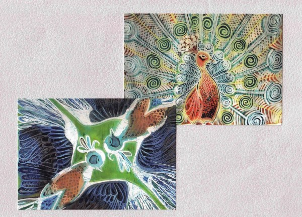 Fine Art Postcard. Print Of Batik Art. Bird Cute