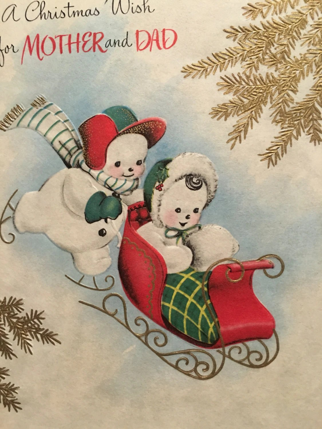 Vintage Christmas Card Snowman Mother And Dad Sled