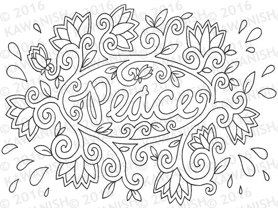 peace lotus floral adult coloring page gift wall art hippie