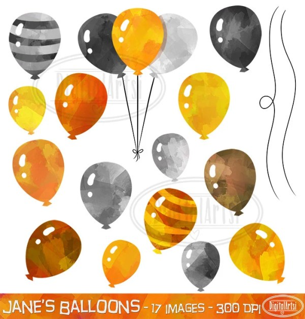 gold and silver balloons clipart