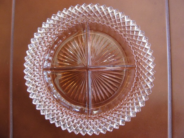 Pink Depression Glass Divided Relish Dish America Pattern