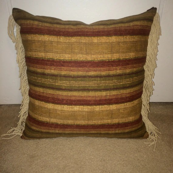 Striped Throw Pillow with Fringe