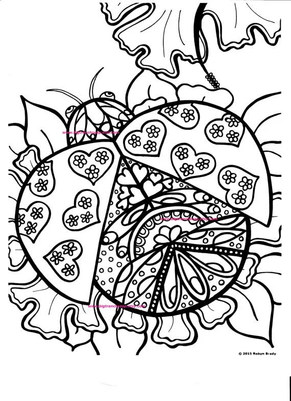 Adult Coloring Page Ladybug Hand Drawn Image Digital