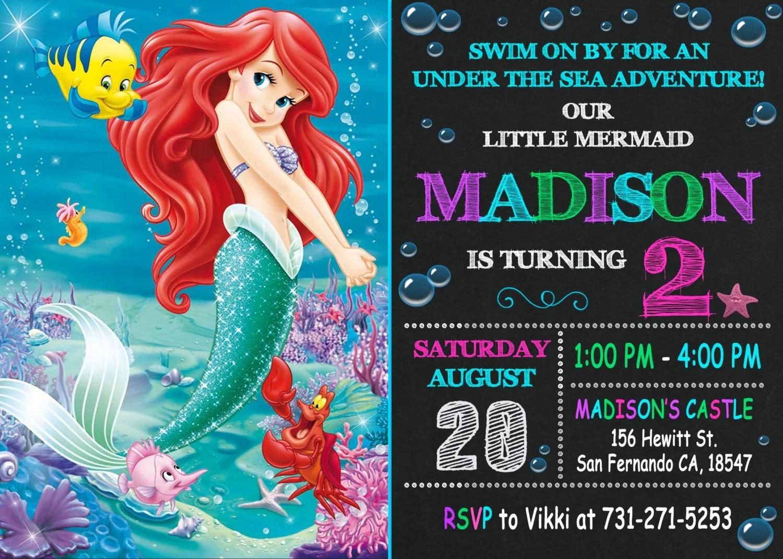 Little Mermaid Invitation Printable Little Mermaid Birthday