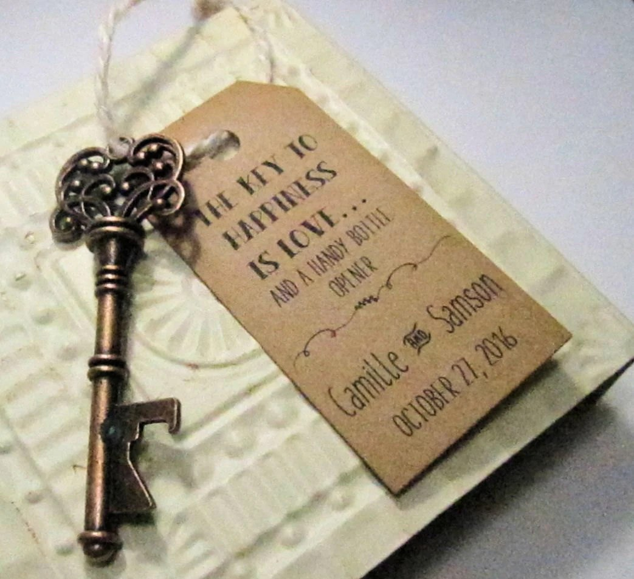 Key Bottle Opener Wedding Favor Set of 10 Skeleton Key