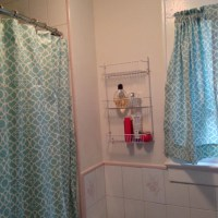 Two panel shower curtain with attached valance by ...