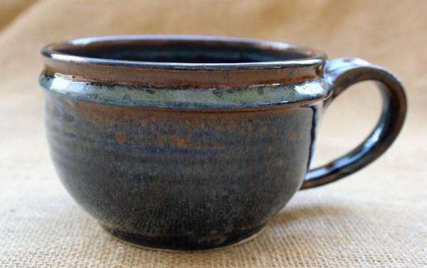 Large Soup Bowl With Handle Pottery Mug Wheel Thrown 20