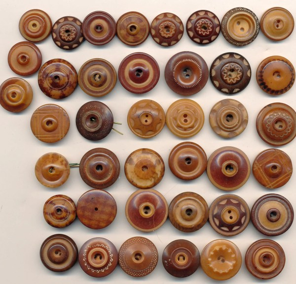 Antique Vintage Tagua Nut Buttons 40 Carved Dyed Whistles