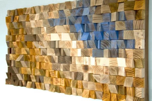Reclaimed Wood Wall Art Mosaic Geometric