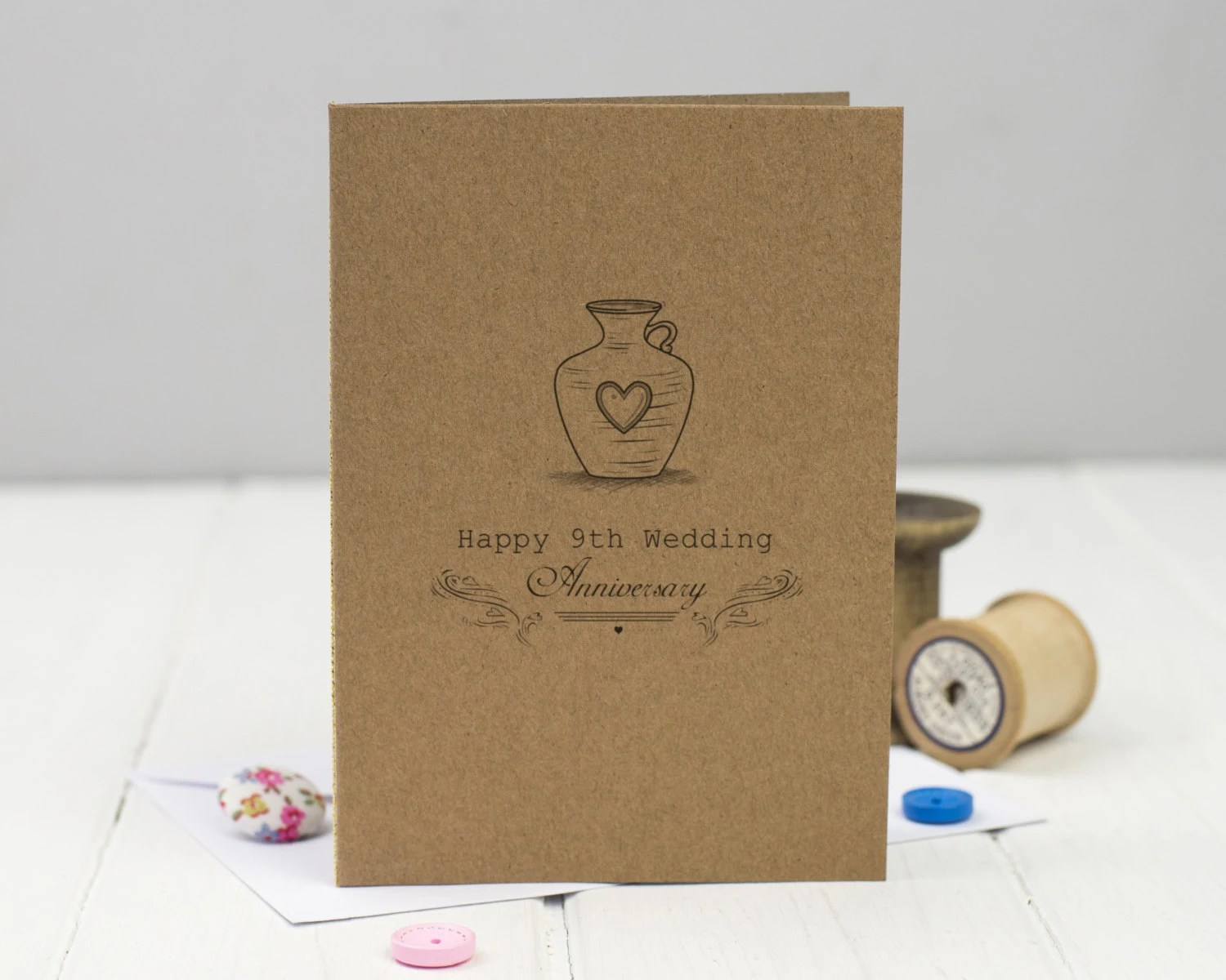 9th Wedding Anniversary Card Pottery Ninth Anniversary