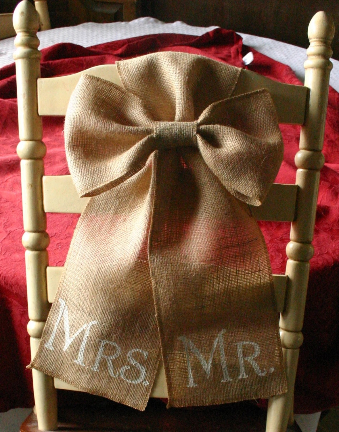 Burlap Chairs Burlap Mr And Mrs Chair Bows For Weddings Sale Bride And