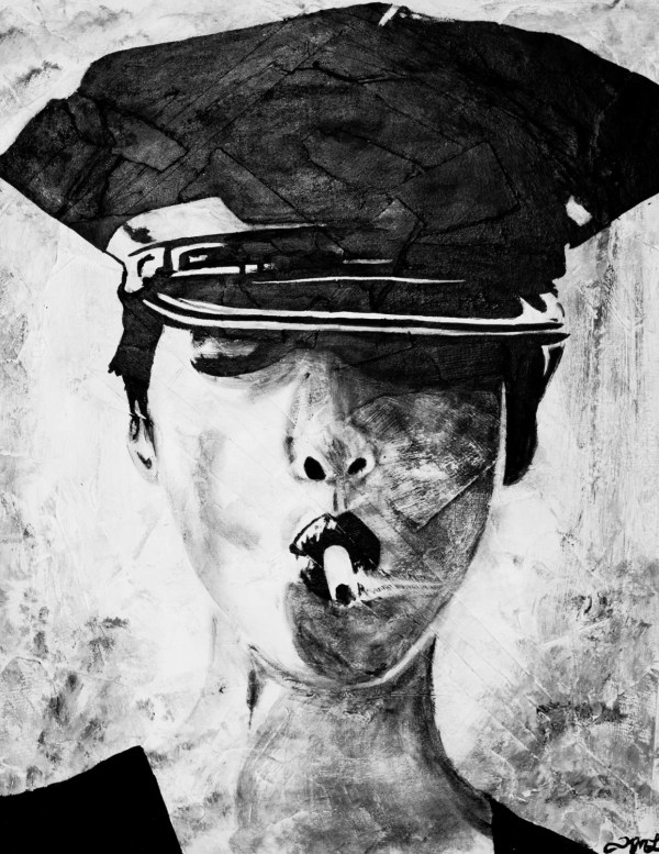 Police Woman Smoking Fine Art Print Black & White Wall
