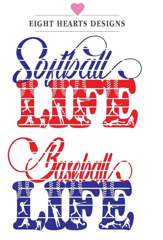 Download LIFE Baseball & Softball Life SVG Cut Design File Tshirts