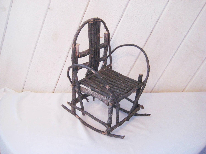 rustic rocking chair hammock stand amazon doll twig vintage adirondack