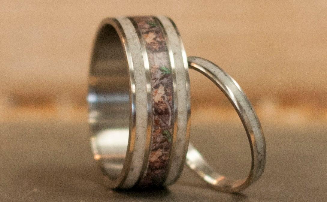 Mens Wedding Band Matching Set Camo Amp Elk Antler Rings Womens