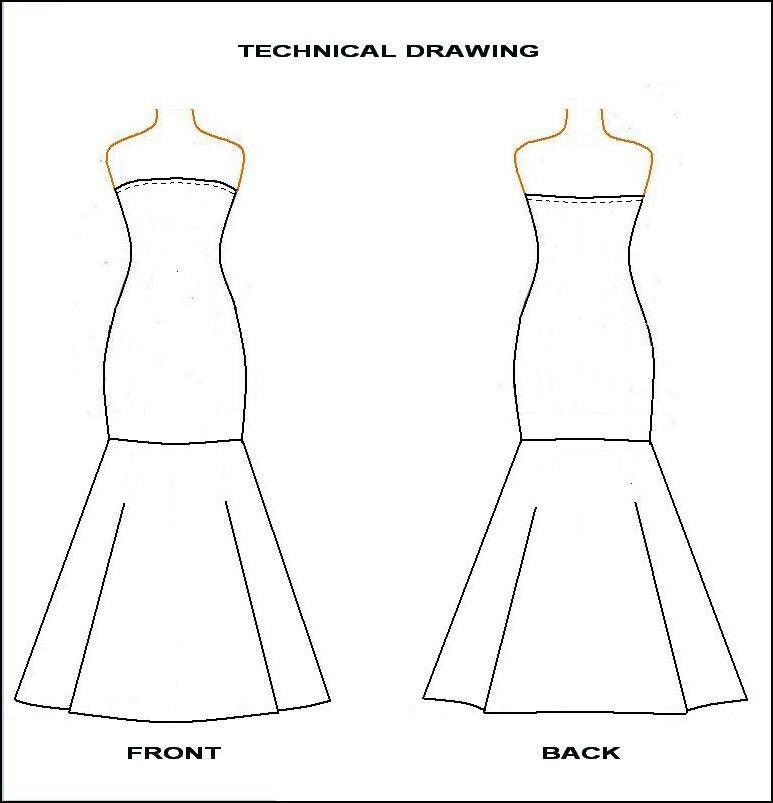 PDF Sewing Pattern- Strapless Mermaid Dress from Knit