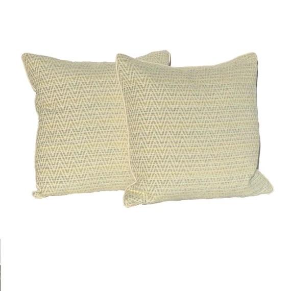 "Decorative PIllow covers – Ivory, aqua\ and Tanzig zag  pattern - 20"" Pillows covers- Hidden Zipper Closure"