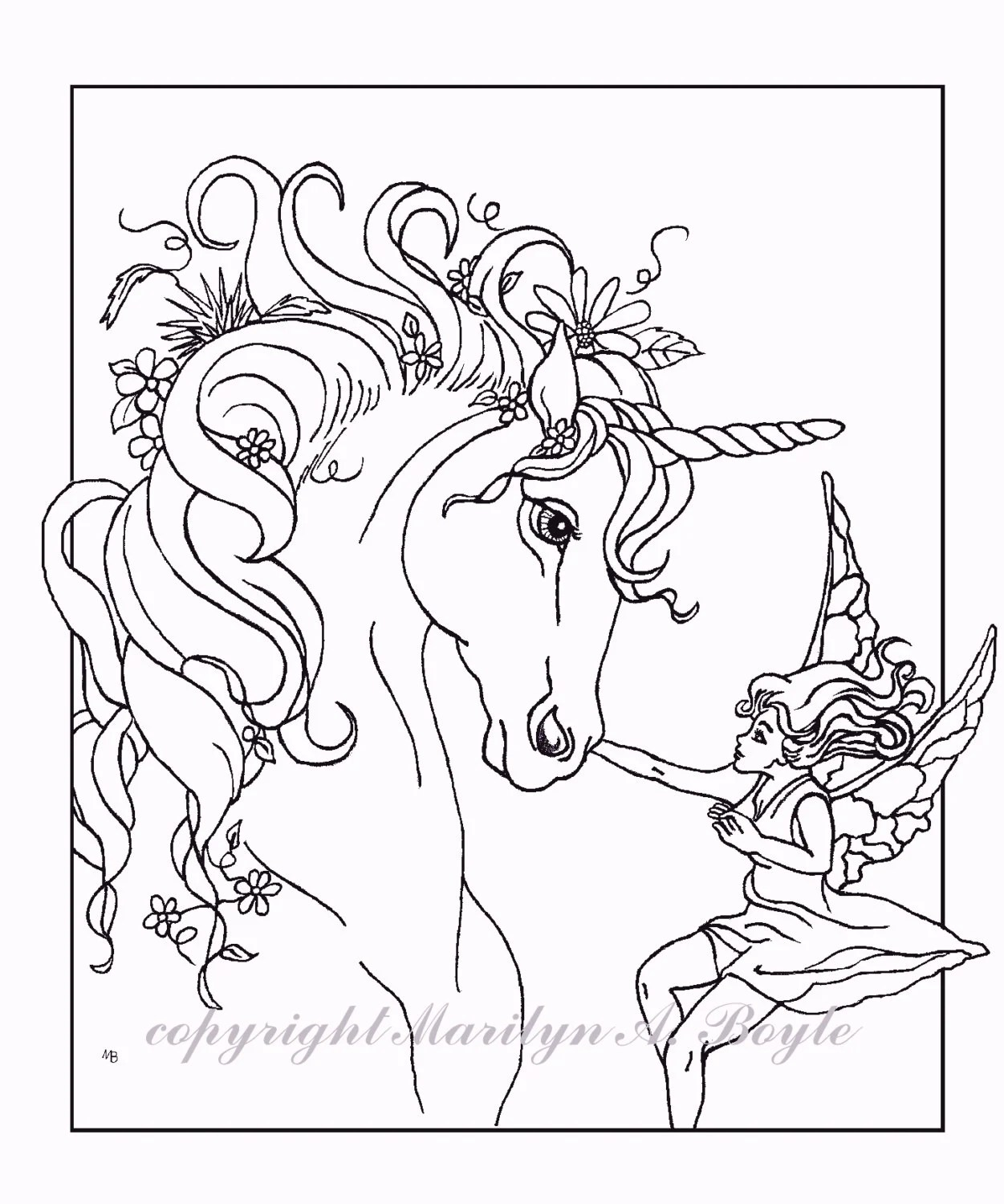 COLORING BOOK of five PAGES fantasy unicorns fairy horse