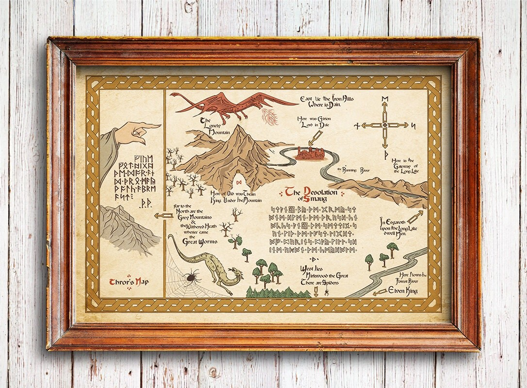 The Hobbit Map Vintage Style Map The Hobbit Poster The