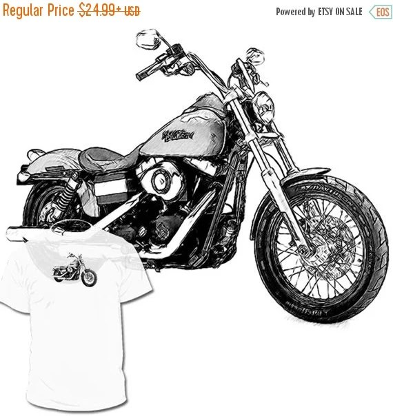 40% OFF Sale Harley Davidson Street Bob Drawing T shirt by