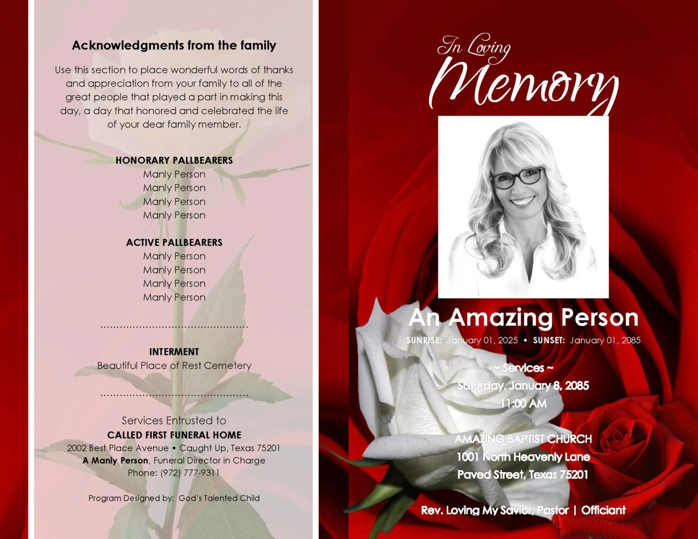 RED And WHITE ROSEVILLE Printable Funeral Program
