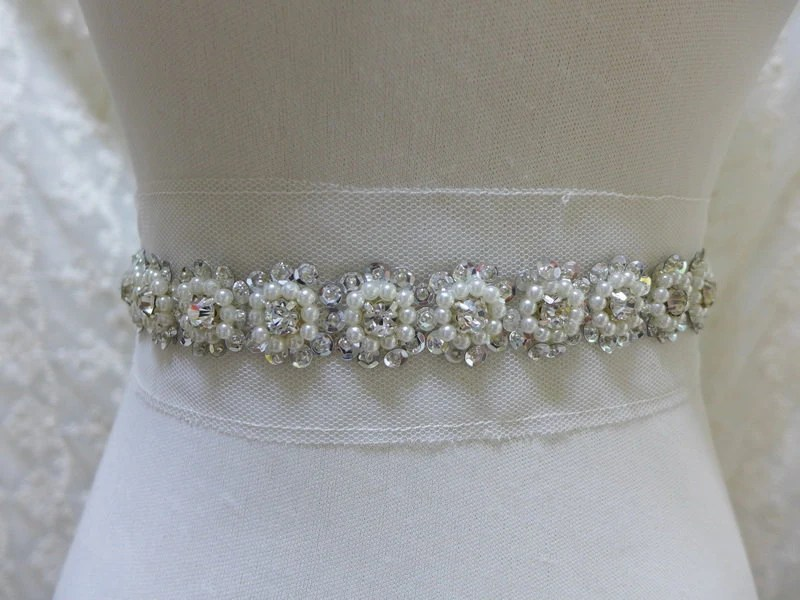 Rhinestone Pearl Beaded Trim With Silver Sequins For DIY