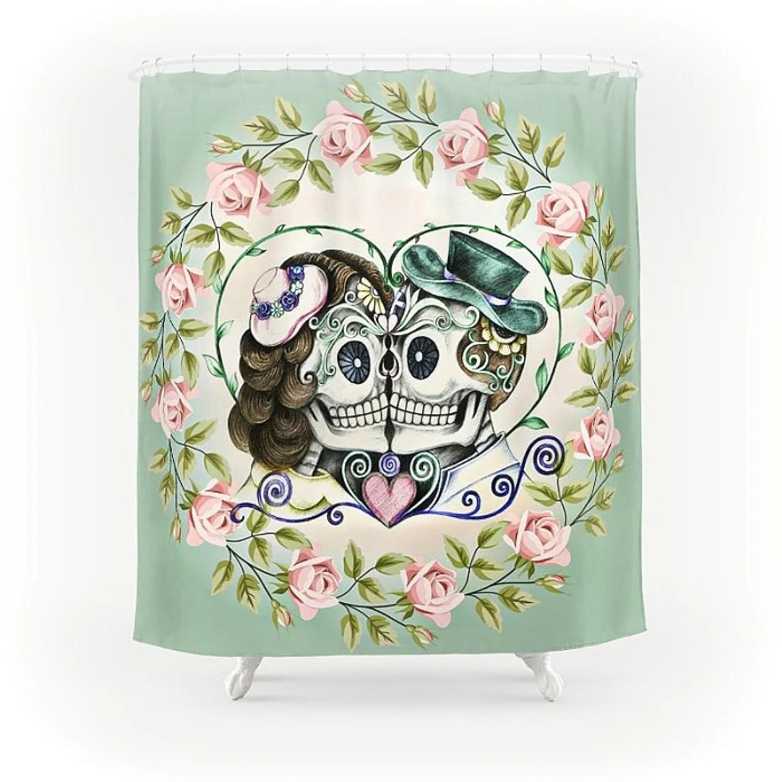 Sugar Skull Skeleton Shower Curtain Forevermore