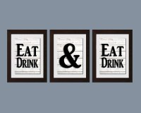 Black And White Decor Shabby Chic Wall Art Eat And Drink And