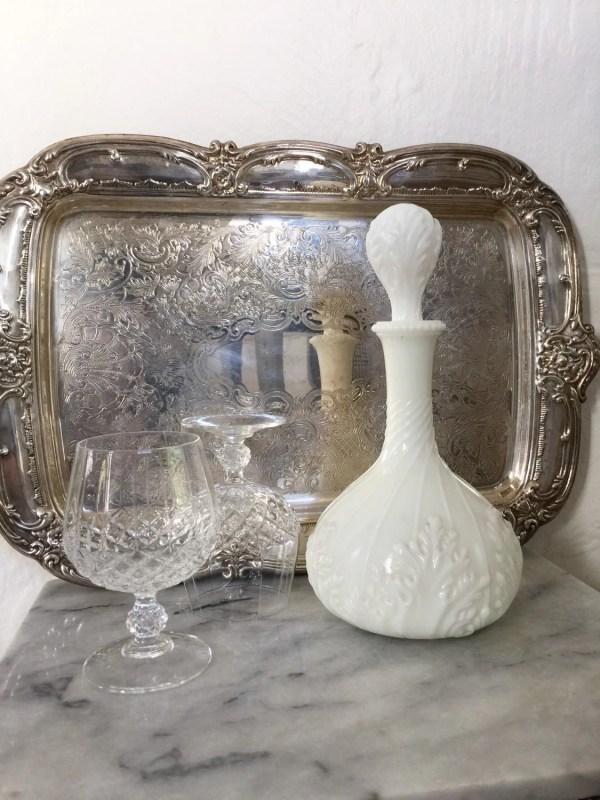 Antique Milk Glass Decanter Victorian White