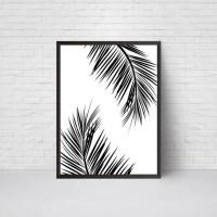 Palm Leaves Wall Art Print Beach House Leaf Decor Printable