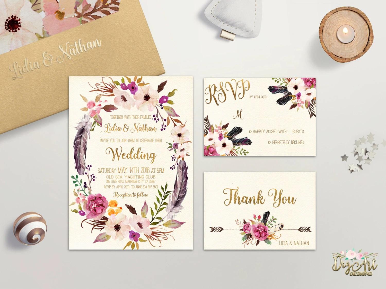Floral Wedding Invitation Printable Boho Wedding Invitation
